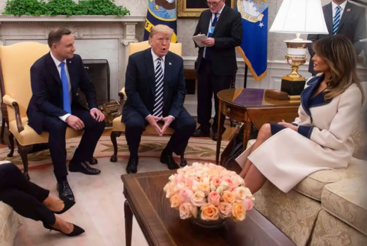 How did Melania Trump welcome Polish president