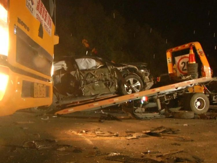At least 15 people have died after a truck lost control and ploughed into cars at a toll booth in northwest China.